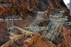 Electric transmission tower. Hydro electric transmission tower at Hoover Dam Stock Photo