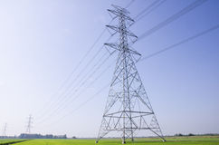 Electric Transmission Tower on filed.  royalty free stock image