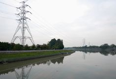 Nam Sang Wai. Electrical Transmission Towers near Nam Sang Wai Wetland in Hong Kong China Royalty Free Stock Images