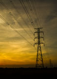Electric transmission tower. With sunset light blackground stock photos