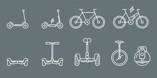 Electric Transport Icons - Set Web and Mobile 01 vector illustration