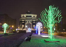 Electric trees and Triumphal arch, Moscow in Christmas Royalty Free Stock Images