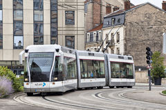 Electric trolley-tram on the street of the Nancy Stock Images