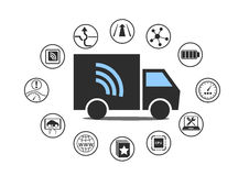 Electric truck symbol with power plug and various icons. Stock Images