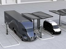 Electric truck and van charging at charging station powered by solar panel system. 3D rendering image royalty free illustration