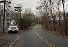 Electric truck waiting to work. Hurricame Sandy. Royalty Free Stock Images