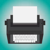 Electric typewriter. Retro design electric typewriter isolate on blue background. Vector illustration royalty free illustration