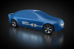 Electric vehicle with blue carbody. 3D rendering: electric vehicle with blue carbody Stock Image