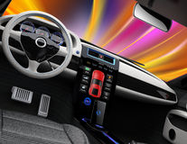 Electric vehicle center console with full size touch panel Stock Image