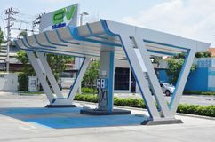 Electric vehicle charger in gas station for supporting electrical car in future stock photos