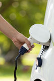 Electric vehicle charging Royalty Free Stock Images