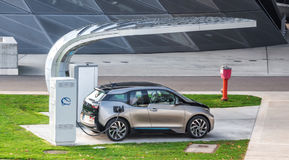 Electric vehicle charging (BMW i3) Stock Image