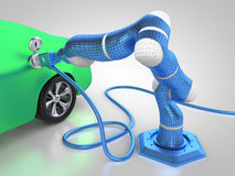Electric vehicle charging. 3D rendering: electric vehicle is charged autonomously by robotic arm Royalty Free Stock Photo
