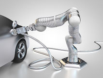 Electric vehicle charging. 3D rendering: electric vehicle is charged autonomously by robotic arm Royalty Free Stock Image