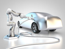 Electric vehicle charging. 3D rendering: electric vehicle is charged autonomously by robotic arm Stock Photos