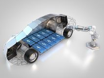 Electric vehicle charging. 3D rendering: electric vehicle is charged autonomously by robotic arm Stock Images
