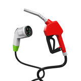 Electric Vehicle Charging Plug and Gas Nozzle Stock Photos