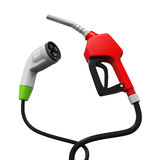 Electric Vehicle Charging Plug and Gas Nozzle Royalty Free Stock Images