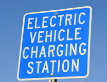 Electric Vehicle Charging Signage. Electric Vehicle Charging Station  Signage at City Hall Stock Photography