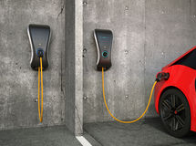 Electric vehicle charging station for home. Stock Image