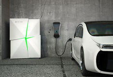 Electric vehicle charging station for home Stock Photos