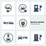 Electric Vehicle Charging Station Icons Set. For web design vector illustration