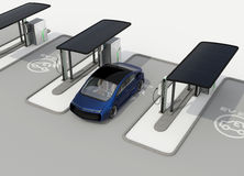 Electric vehicle charging station in public space Royalty Free Stock Image