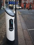 Electric vehicle charging station at a residential street in London, UK stock images