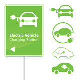 Electric Vehicle Charging Station road sign Royalty Free Stock Image