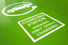 Electric Vehicle Charging Station sign. Electric Vehicle Charging Station green road sign. Parking only while charging. An electric car is an automobile that is Stock Images