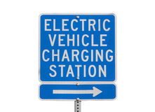 Electric Vehicle Charging Station Sign Isolated Stock Photography