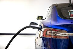 Free Electric Vehicle Charging Station System Storing Power On Modern Car. EV Fuel For Advanced Hybrid Car. Automobile Industry. Royalty Free Stock Images - 172742379