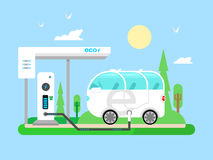 Electric vehicle charging. Transportation electricity, fuel power, vehicle technology, battery and utility, flat vector illustration vector illustration