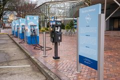 Electric vehicle fast charging station. Dec 22, 2017 Portland Oregon - A Electric vehicle fast charging station sits in downtown near the water front.  One of Royalty Free Stock Image