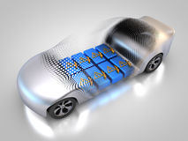Electric vehicle with open carbody. 3D rendering: electric vehicle with open carbody with view at the battery Royalty Free Stock Image