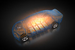 Electric vehicle with open carbody. 3D rendering: electric vehicle with open carbody with view at the battery and the circuit board Stock Photography