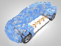 Electric vehicle with open carbody. 3D rendering: electric vehicle with open carbody with view at the battery pack Royalty Free Stock Photography