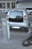 Electric Vehicle Paris. This innovative service allows to pick up and deposit cars in various parking areas around the city Stock Photos
