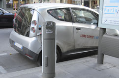 Electric Vehicle Paris. This innovative service allows to pick up and deposit cars in various parking areas around the city Royalty Free Stock Photo