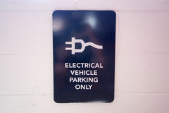 Electric Vehicle Parking Sign Stock Image