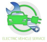 Electric Vehicle Repair Sign. Electric Vehicle Car Service Repair Sign Logo art with chrome wrench and plug green Stock Images