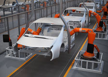 Electric vehicles body assembly line Stock Photography