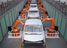 Electric vehicles body assembly line Royalty Free Stock Images