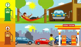 Electric versus gasoline car illustrations Stock Photos