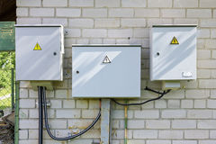 Electric village metal boxes Royalty Free Stock Images