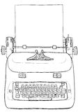 Electric vintage Typewriter with paper line art Stock Photos