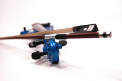 Electric Violin. Blue electric violin close up studio photography Royalty Free Stock Image