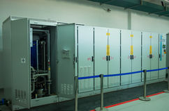 Electric voltage control room of a plant Stock Images