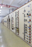 Electric voltage control room of a power plant. Royalty Free Stock Photo