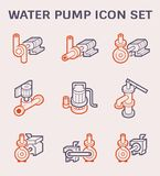 Water pump icon. Electric water pump and steel pipe for water distribution icon design, color and outline vector illustration